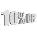 el 10 por ciento de las letras 3d en el fondo blanco Imagenes de archivo