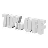 el 70 por ciento de las letras 3d en el fondo blanco Foto de archivo