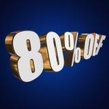 el 80 por ciento de las letras 3d en fondo azul Fotos de archivo
