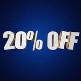 el 20 por ciento de las letras 3d en fondo azul Imagen de archivo libre de regalías