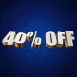 el 40 por ciento de las letras 3d en fondo azul Fotografía de archivo