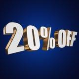 el 20 por ciento de las letras 3d en fondo azul Imágenes de archivo libres de regalías