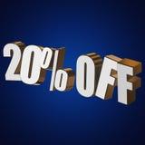 el 20 por ciento de las letras 3d en fondo azul Fotografía de archivo