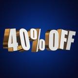 el 40 por ciento de las letras 3d en fondo azul Imagen de archivo libre de regalías