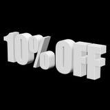 el 10 por ciento de las letras 3d en fondo negro Foto de archivo