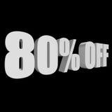 el 80 por ciento de las letras 3d en fondo negro Fotografía de archivo