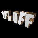 el 10 por ciento de las letras 3d en fondo negro Fotos de archivo
