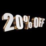 el 20 por ciento de las letras 3d en fondo negro Fotografía de archivo libre de regalías