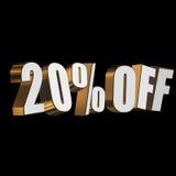 el 20 por ciento de las letras 3d en fondo negro Imagen de archivo libre de regalías