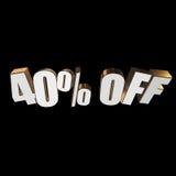 el 40 por ciento de las letras 3d en fondo negro Imagen de archivo libre de regalías