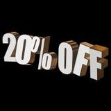 el 20 por ciento de las letras 3d en fondo negro Foto de archivo libre de regalías