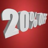 el 20 por ciento de las letras 3d en fondo rojo Imágenes de archivo libres de regalías