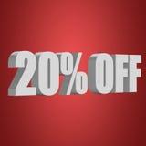 el 20 por ciento de las letras 3d en fondo rojo Fotos de archivo