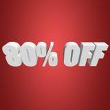 el 80 por ciento de las letras 3d en fondo rojo Foto de archivo libre de regalías