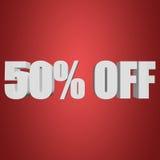 el 50 por ciento de las letras 3d en fondo rojo Imagen de archivo