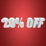 el 20 por ciento de las letras 3d en fondo rojo Foto de archivo libre de regalías