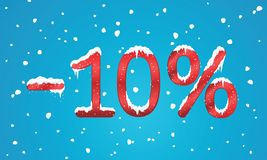 el 10 por ciento de números del descuento con nieve y carámbanos Reta que nieva Imagen de archivo