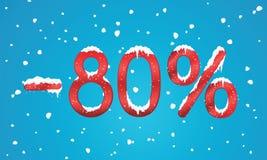el 80 por ciento de números del descuento con nieve y carámbanos Reta que nieva Imagen de archivo libre de regalías