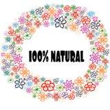 El 100 POR CIENTO de NATURAL en marco floral Imagen de archivo libre de regalías