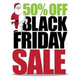 el 50 por ciento de viernes negro con mitad vistió pequeño santa Imágenes de archivo libres de regalías
