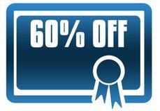 El 60 POR CIENTO del certificado azul Fotografía de archivo libre de regalías