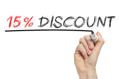 el 15 por ciento del descuento de escritura de la mano en un whiteboard Imagen de archivo libre de regalías
