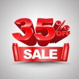 el 35 por ciento del estilo rojo del rollo 3D de la bandera de la cinta de la venta Foto de archivo