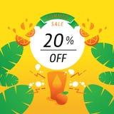 el 20 por ciento del fondo con la fruta anaranjada Imagenes de archivo
