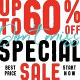 El 60 por ciento especial de la venta V2 pone el diseño fa del título del vector de la falta del ` t Imagen de archivo