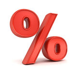 el por ciento rojo 3D o % de la muestra aislada sobre el fondo blanco Imágenes de archivo libres de regalías