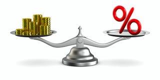 El por ciento y dinero en escala Imagen de archivo libre de regalías