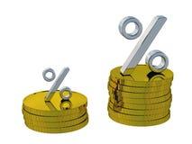 El por ciento y monedas ilustración del vector