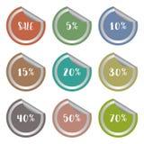 El porcentaje de la venta varios numera el sistema de etiqueta de la etiqueta engomada Imágenes de archivo libres de regalías