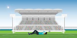El portero cubre para poseer la cara durante el juego faltó la bola en el GA libre illustration