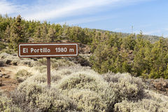 El portillo signal. On el teide mountain stock images