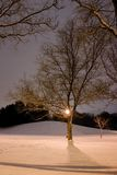 El poste, la colina Nevado, los árboles y ligeros es invierno Fotografía de archivo libre de regalías