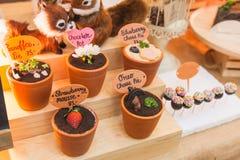 El postre adornó los potes; comida colorida del diseño para el partido y la celebración Imagen de archivo libre de regalías