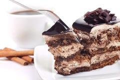 El postre con chocolate-se apelmaza y café Fotos de archivo