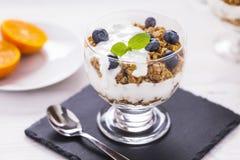 El postre delicioso, escamas inundó en yogur de dos sabores con azul Imagen de archivo