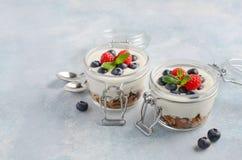 El postre helado del yogur con el granola hecho en casa y las bayas frescas en un vidrio sacude en el fondo concreto azul, concep Fotografía de archivo