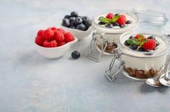 El postre helado del yogur con el granola hecho en casa y las bayas frescas en un vidrio sacude en el fondo concreto azul, concep Foto de archivo
