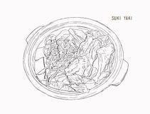 El pote de Sukiyaki se opone objetos de dibujo del diseño gráfico Fotografía de archivo