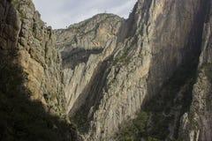 El Potrero Chico. A view of El Potrero Chico Canyon outside of Monterrey, Nuevo Leon, Mexico. It is a premier rock climbing destination for people around the stock photo