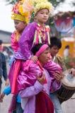 El Poy cantó ceremonia larga en Mae Hong Son, Tailandia fotos de archivo libres de regalías