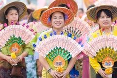 El Poy cantó ceremonia larga en Mae Hong Son, Tailandia fotografía de archivo