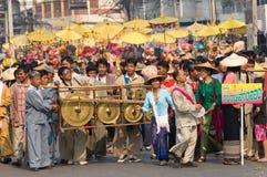 El Poy cantó ceremonia larga en Mae Hong Son, Tailandia imagen de archivo libre de regalías