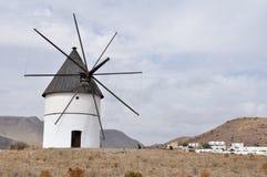 El Pozo de los Frailes windmill in Cabo de Gata, Spain Stock Photography