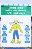 El PPE del equipo protector personal diagram el tablero de la muestra del cartel para la salud y la seguridad del sitio de la gue imagen de archivo