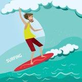 El practicar surf stock de ilustración