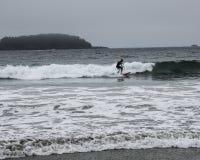 El practicar surf cerca de Tofino Imagen de archivo